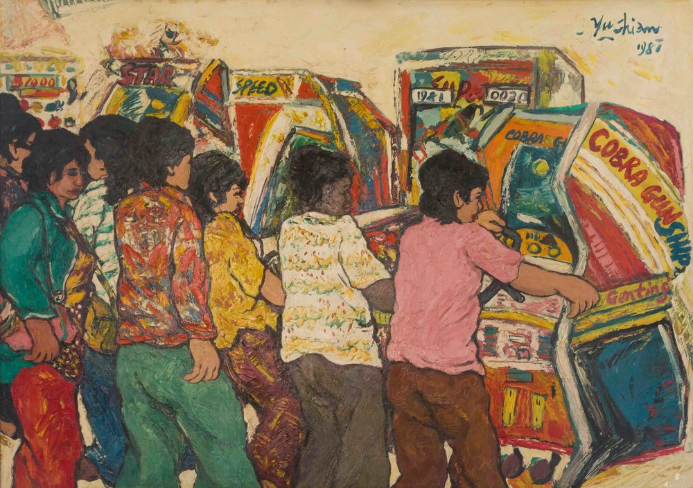 Chia Yu Chian, 'Playing the Slot Machine', 1981, oil on canvas, 65 x 91cm. Image courtesy of ILHAM Gallery.