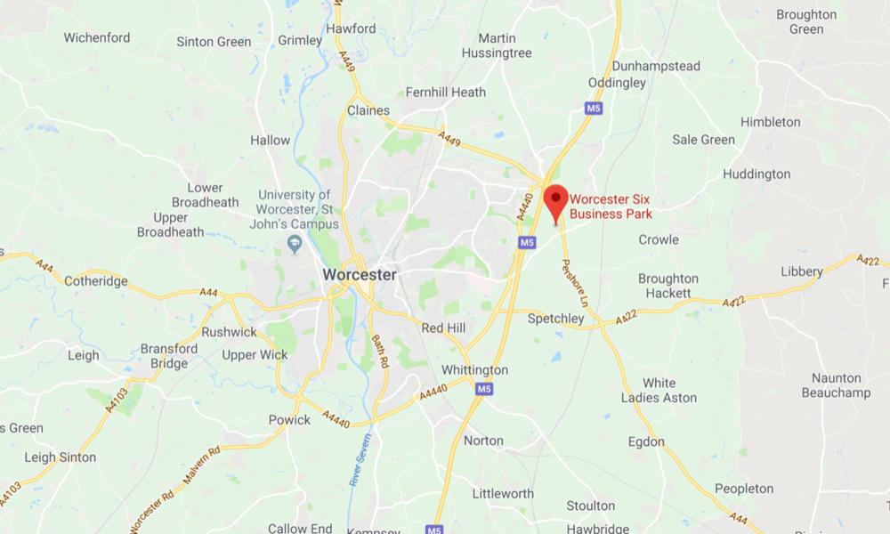 """Postrojenje će se nalaziti nadomak Worcesteru, na području """"Worcester Six Buisinnes Park"""" kampusa koji pruža veliki prostor za urede, skladišta i tvornice, izvor: Google Maps"""
