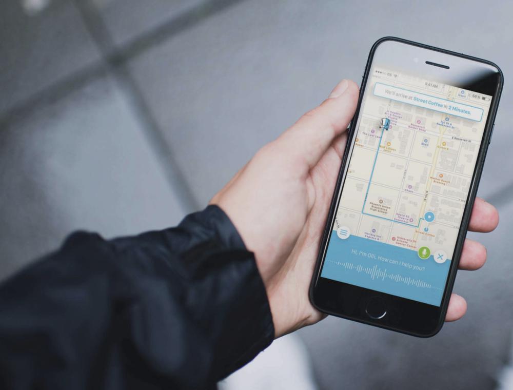 Aplikacija kojom putnim može dozvati shuttle OLLI, izvor: Local Motors
