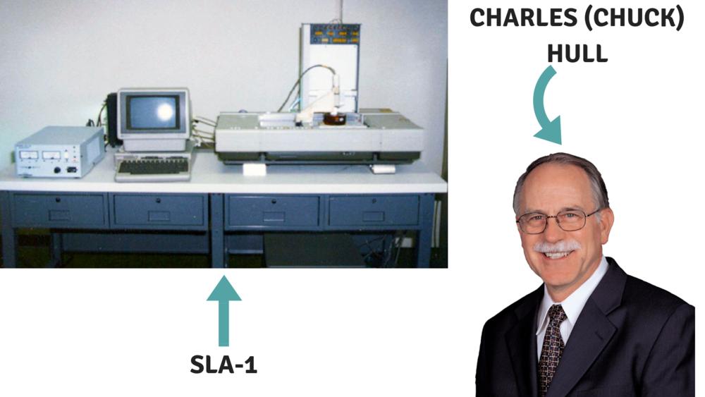 SLA-1 i Charles Hull - izvor: 3DPrint.com i stemconnector.com