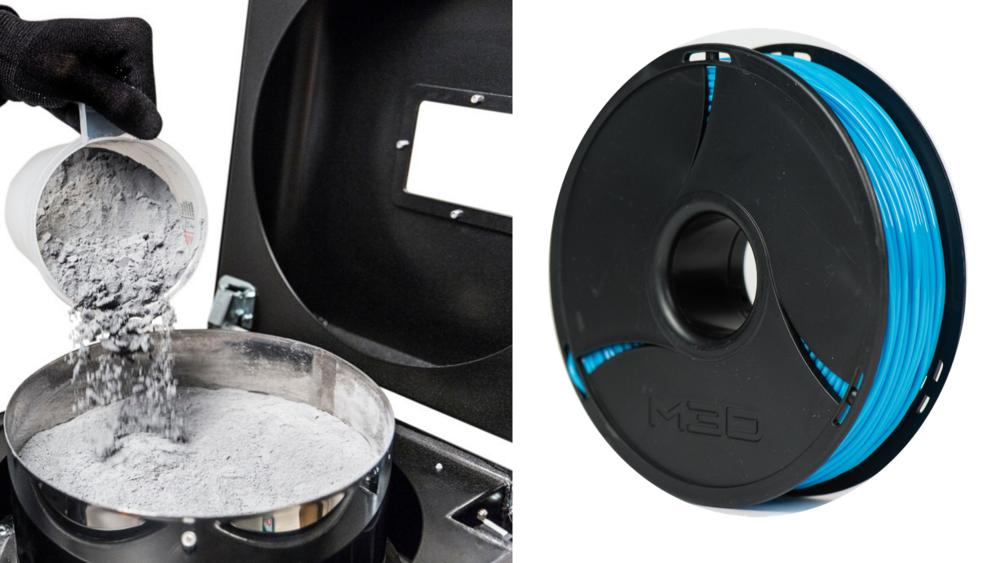 Prah za SLS i filament za FDM/FFF - izvor: 3DPrint.com i M3D