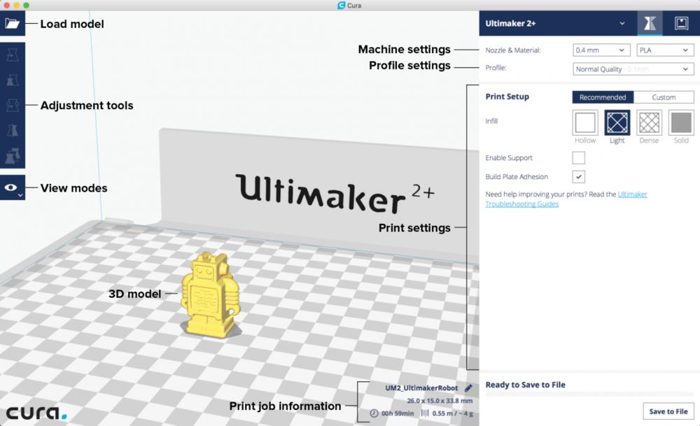 Korisničko sučelje Ultimaker Cura programa -