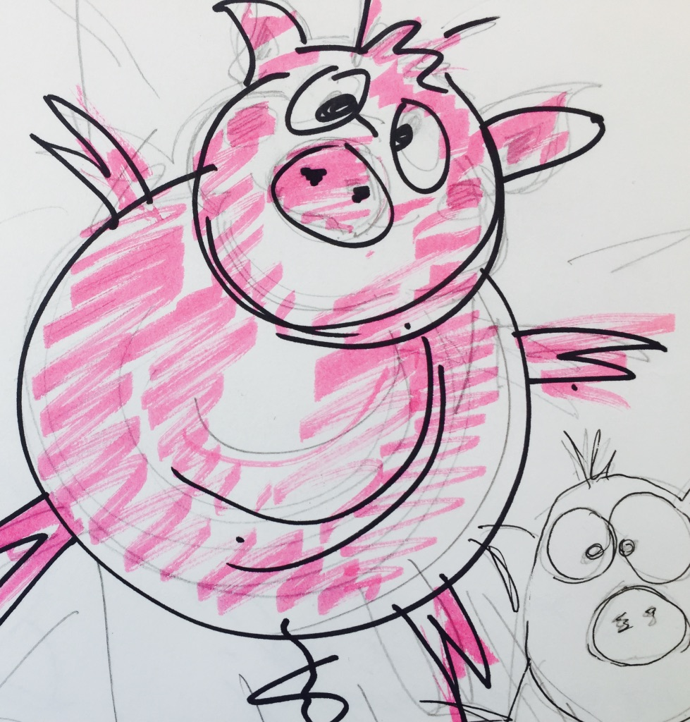 Oink, Oink!   My very first sketch for A Parcel of Pigs