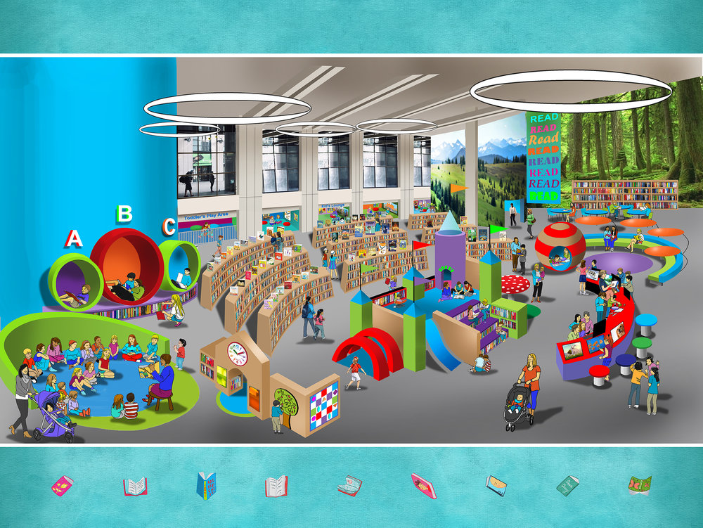 This digital rendering shows what the Children's Library at Vancouver's Central Branch could look like after planned upgrades. (Vancouver Public Library)