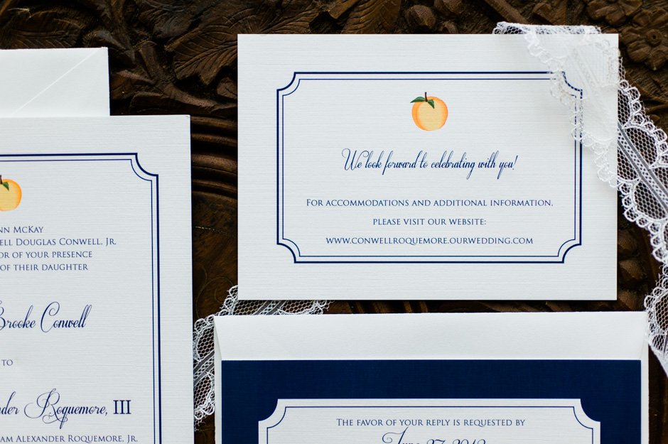 Erica + Bill's Georgia Peach Wedding Invitations