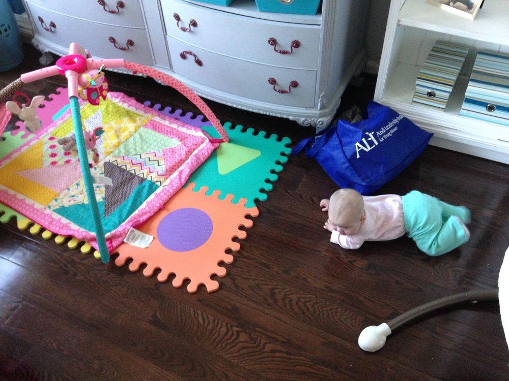 A few weeks pre-seizure, rolling off her mat! -