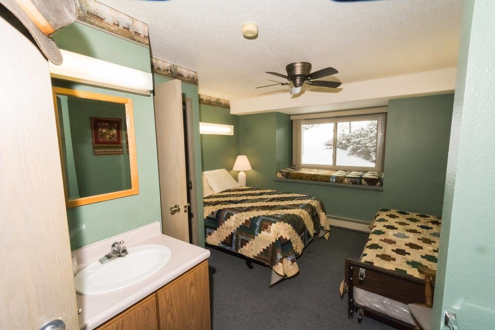 Sleeping room in the lodge.
