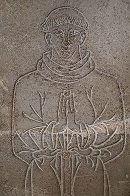 Tomb Slab of a Friar, detail, limestone, French, 14th century