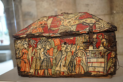 Painted Wood Box with Scenes of the Capture of Orange, walnut and paint, iron mounts, South French, ca. 1200-1225