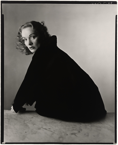 Photograph of Marlene Dietrich taken by Irving Penn, Gelatin Silver print, 1948 courtesy of the National Portrait Gallery