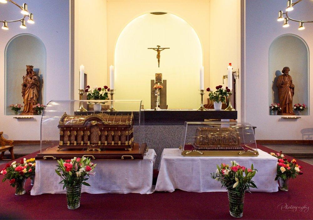 Relikvierne af Sankt Therese og hendes forældre kom på besøg i Sankt Therese Kirke 10. november 2018 som del af en rundrejse i de nordiske lande.