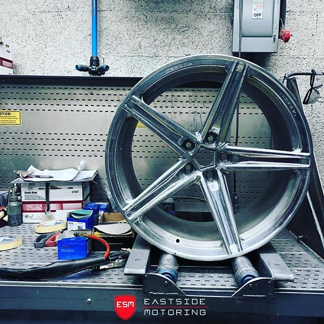 """Good friend @realrideordieracing 's Vossen Wheels being built for his 1000+HP Hellcat. This pic shows the prep stage before they get a """"scarlet red"""" powdercoat. Vossen takes the time to go beyond what's expected in terms of quality control, and in result you get a premium product. These wheels are an unreleased 2019 Style, another first ever for #bostonsbest. Stay tuned for the installed pic. #eastsidemotoring * * * #vossen #nitto #hellcat #challanger #1000hp #carporn #madeinmiami #bostonsbest @vossen"""