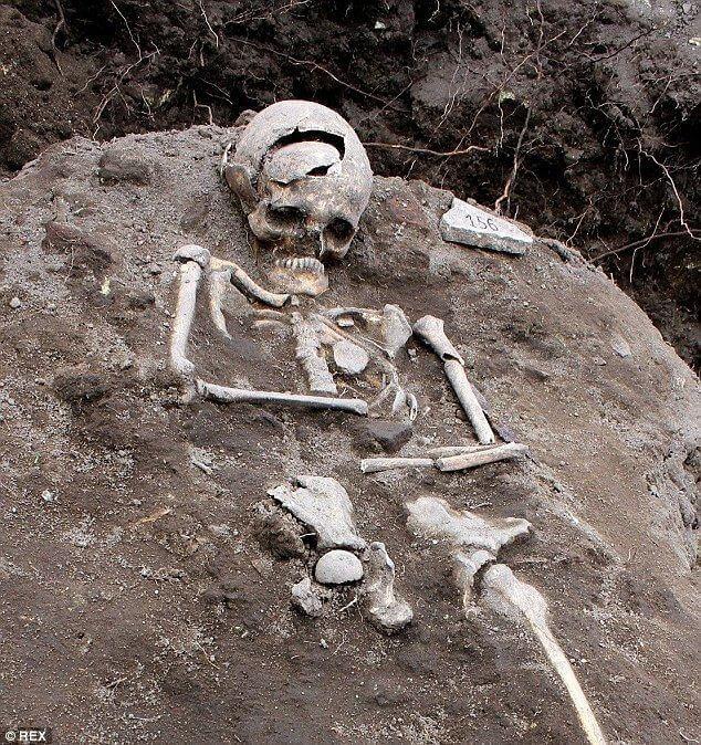 Human skeleton in the dirt