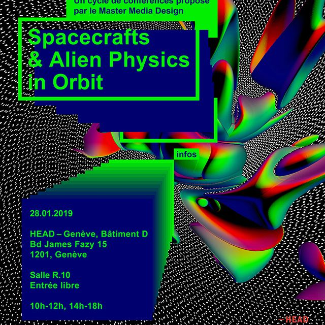 """I am very glad to participate in this full-day conference on Monday the 28.01.19. Organised by @headmediadesign⚡️ https://www.hesge.ch/head/evenement/2018/conference-spacecrafts-and-alien-physics-orbit 🚀 D-6 until our """"Spacecrafts & Alien Physics in Orbit"""" conference with Michael Doser, Monica Bello, Edda Gschwendtner, Ewen Chardronnet, Nicolas Nova, Christophe Kihm, Gilles Jobin, Laura Couto Rosado, Joël Vacheron and Zara Arshad. 👽 Join us on the 28th of January at 10am, Room R10, Boulevard James Fazy 15, Geneva. @headgeneve Free entrance! #headmediadesign 👽Visual by @lauracoutorosado #spacecrafts #physics #quantum #elonmusk #jeffbesos #design #plasma #technology #antimatter #future #outerspace #cern #lhc #accelerator #detector #energy #artists #sifi #interaction #media #interface #nasa #jpl #satellite #alien"""