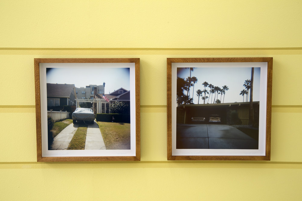 Left: Covered Car, C-type print, 10 x 10 in Right: Palm Springs, C-type print, 10 x 10 in From the installation Obsolescence is the Very Hallmark of Progress  34 framed and unframed photographs, wall painting  Royal Academy Schools , London June 13–29, 2014