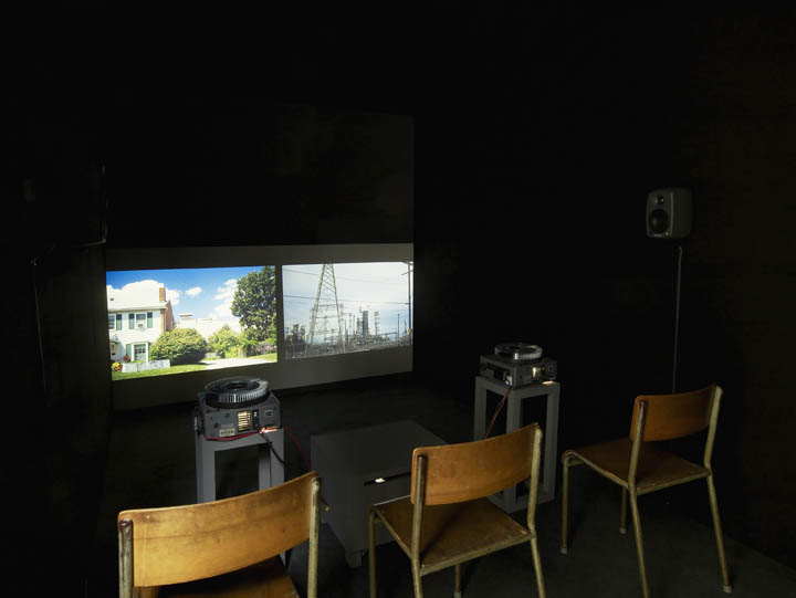 I Dreamed of a House (installation view) 2014 Two-projector 35mm slide installation with sound (134 slides), 14:22  Royal Academy Schools , London June 13–29, 2014