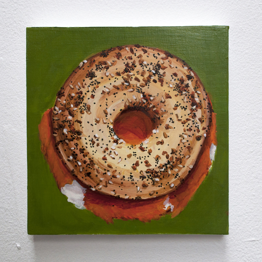 Everything Bagel with Lox and Cream Cheese From the series Some American Food  2013 Acrylic on birch ply, 6 x 6 in