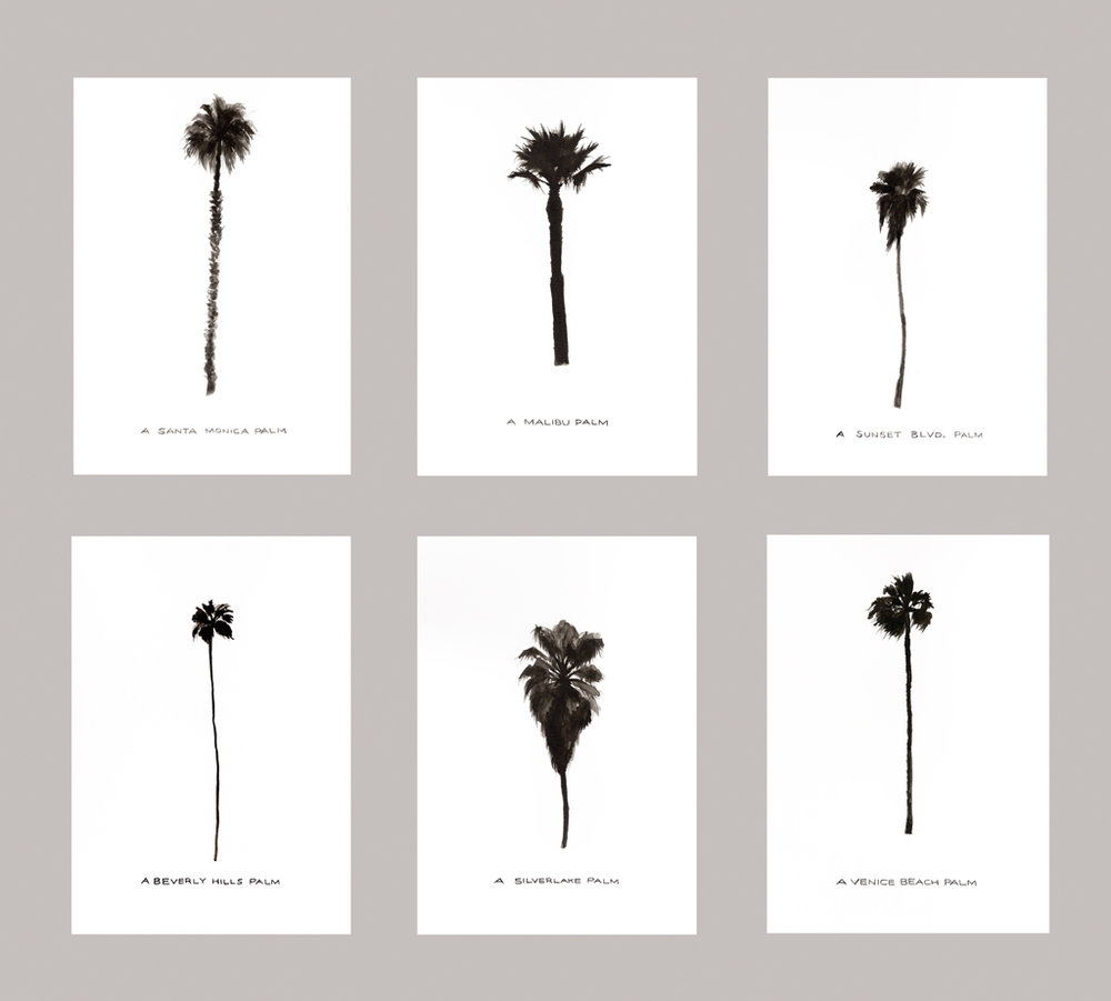 Some Los Angeles Palms 2011 Ink on paper, six drawings at 3.8 x 8.3 in each.
