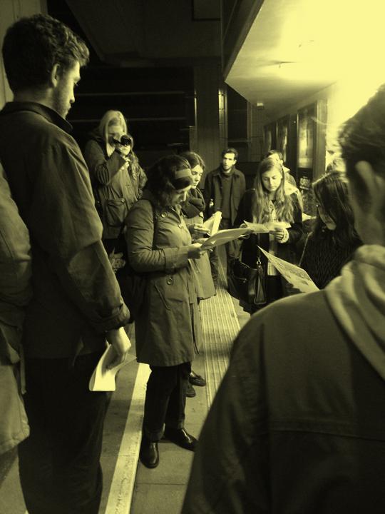 Marisa J. Futernick leading an artist's walk as part of OUTPOST Open Film 2013