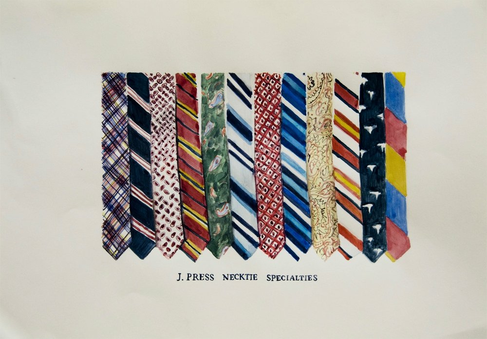 J. Press Necktie Specialties 2011 Watercolor and gouache on paper, 11.7 x 16.5 in