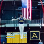 Petrie '89 at Army Navy gymnastics competition