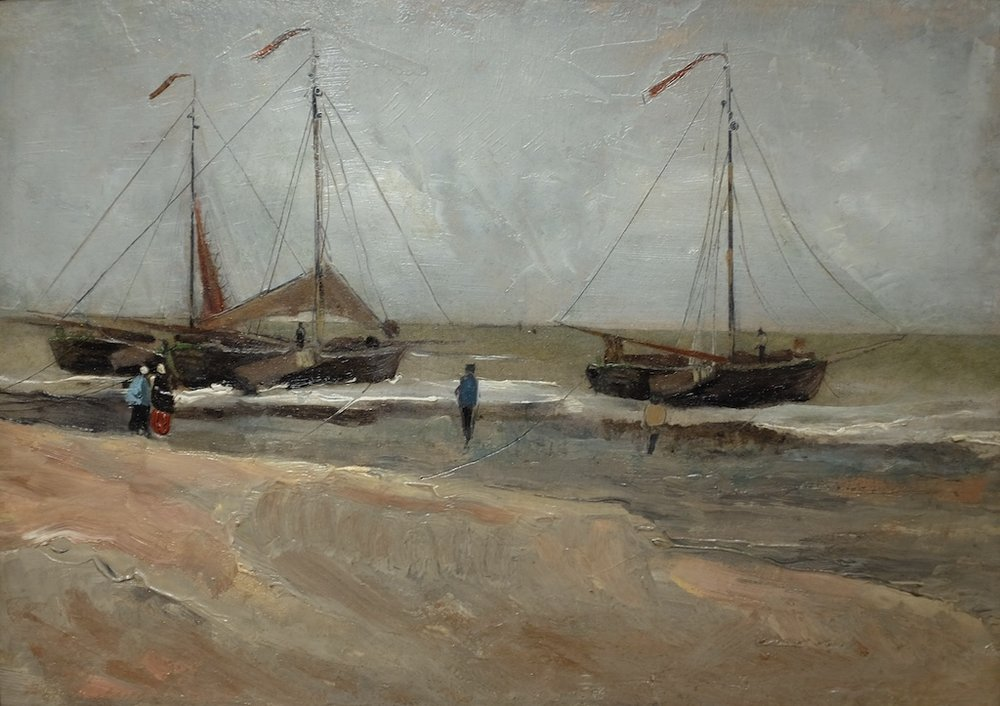 Vincent van Gogh,  The Beach at Scheveningin,  1882. Oil on board mounted on panel.