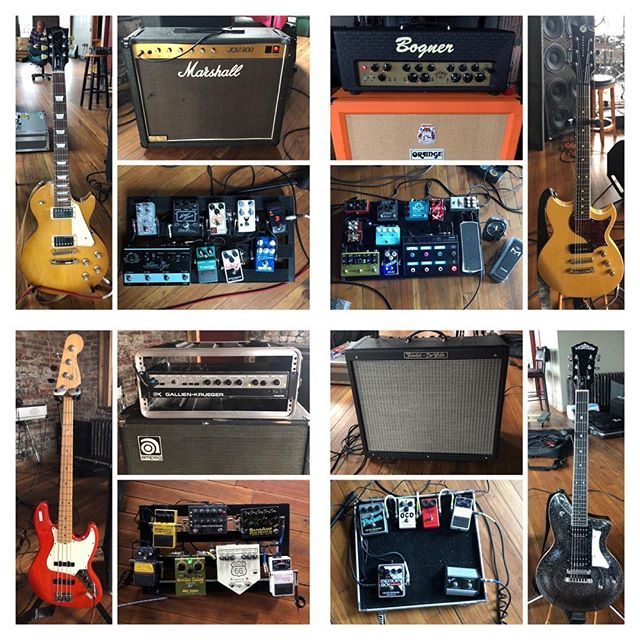 Check out this #RigRundown snapshot of our guitar gear from yesterday's rehearsal.  Any questions on our sounds/gear or interest in video demos or a more in-depth write up?  Our guitars are always locked and loaded with @ernieball Power Slinkys! Swipe to see close ups! 👉👉👉👉👉 . . . #iplayslinky #ernieball #strymonvolante @strymonengineering #fender #fenderguitar #fenderbass @fender #gibson #gibsonlespaul @gibsonguitar #reverendguitars @reverendguitars #gkallday #gallienkrueger @gallienkrueger #ampeg @ampeg #greeramps @greeramps #bogneramps @bogner_amps #orangeamps @orangeamplifiers #marshallamps @marshallamps_uk #washburn @washburn.authentic #tcelectronic @tcelectronic #digitech @digitechfx #mesaboogie @mesaengineering #line6 @official_line6 #origineffects @origineffects #bosspedals @bosspedals #wamplerpedals @wamplerpedals