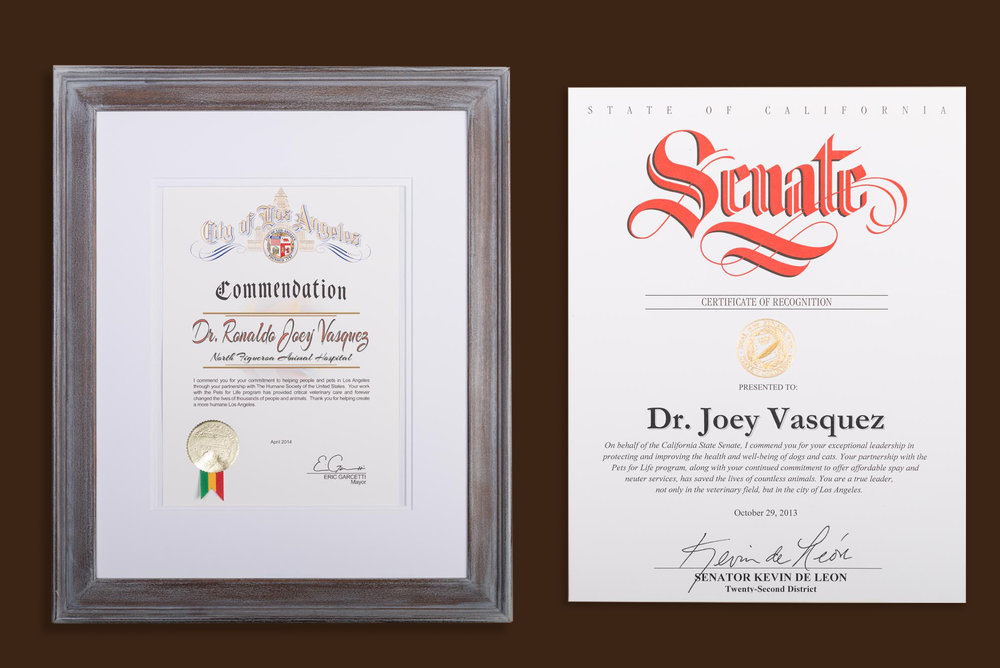 L: Commendation Certificate from the mayor of Los Angeles, Eric Garcetti, 2014 R: State of California, Senate Certificate