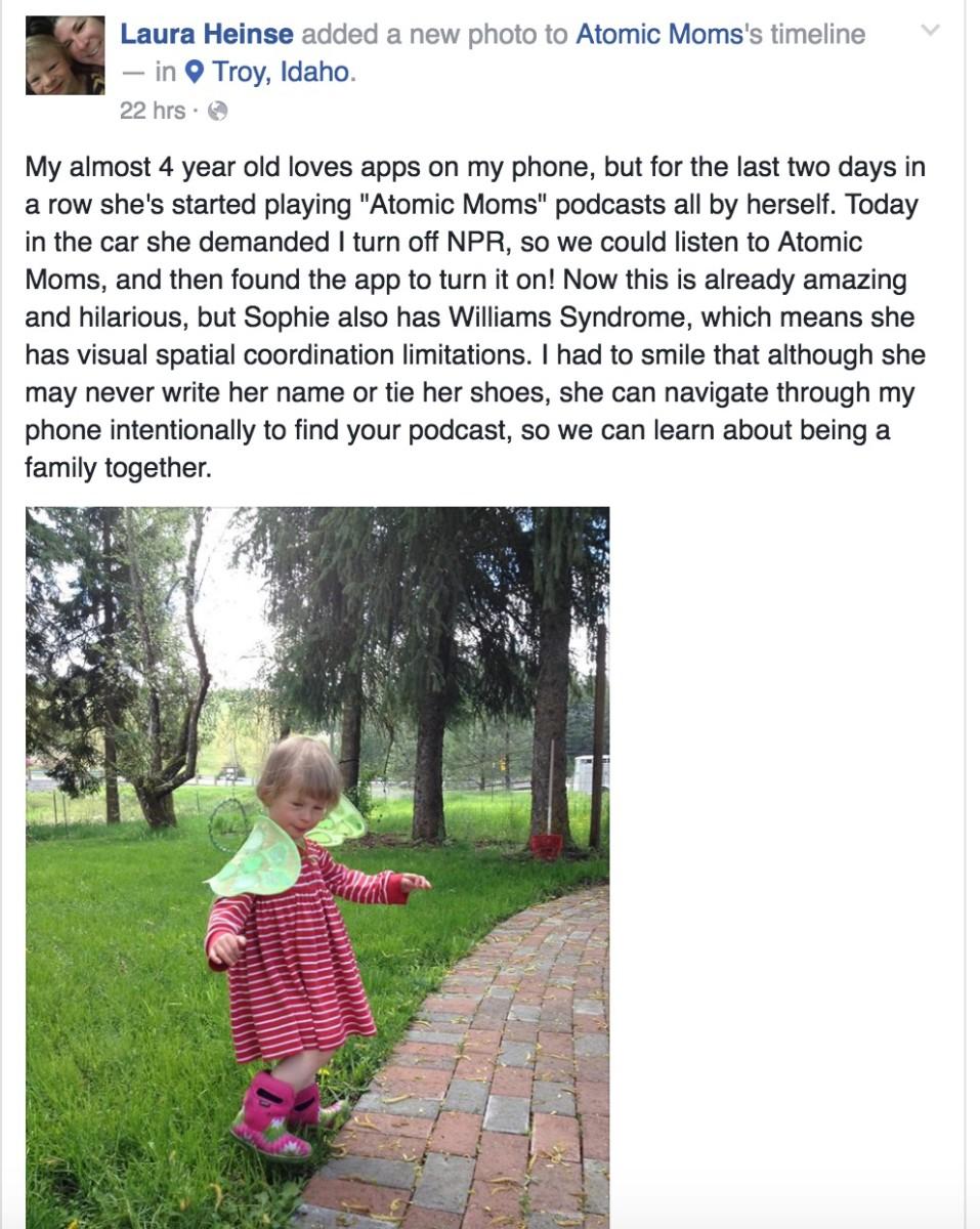 AtomicMoms Facebook Message from Listener