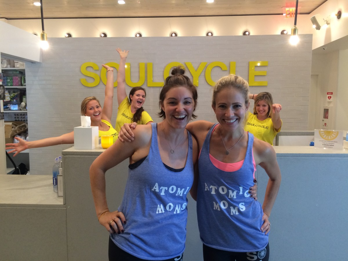 Before sweating our faces off at our Atomic Moms Soul Cycle event!