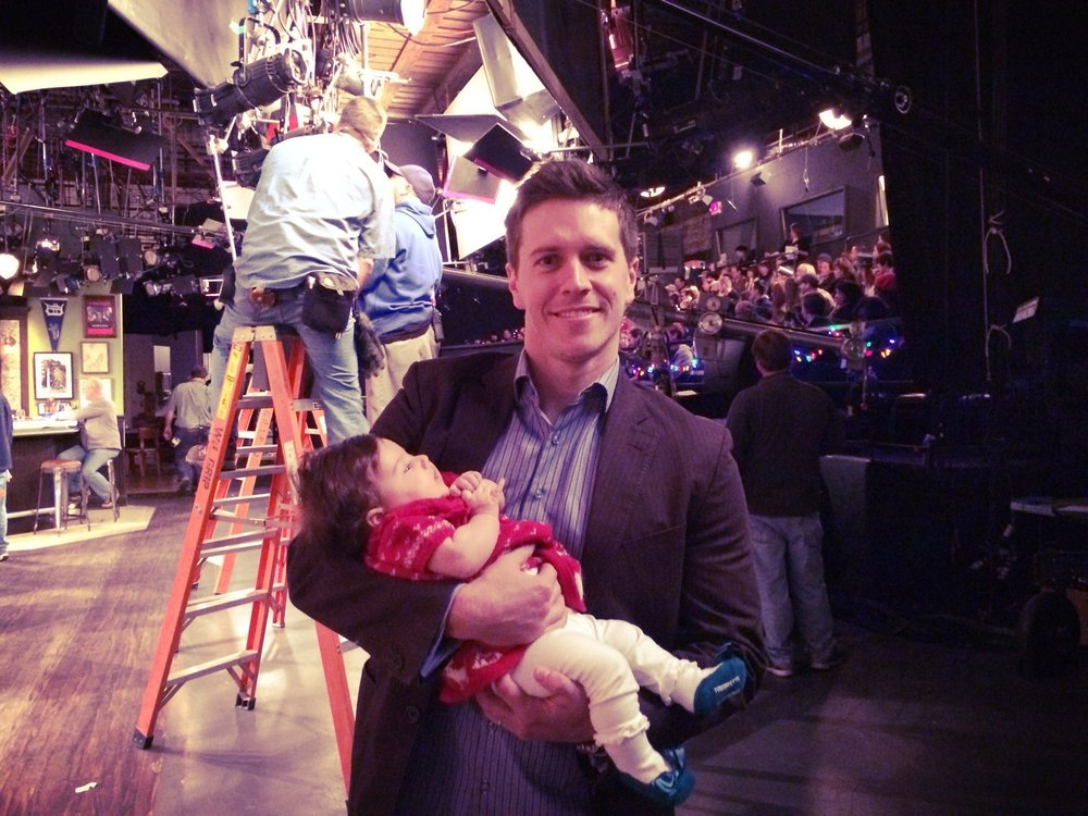 Quiet! Baby on set! Sabrina visiting the multicam sitcom Undateable (NBC) back in 2013 with Adam.