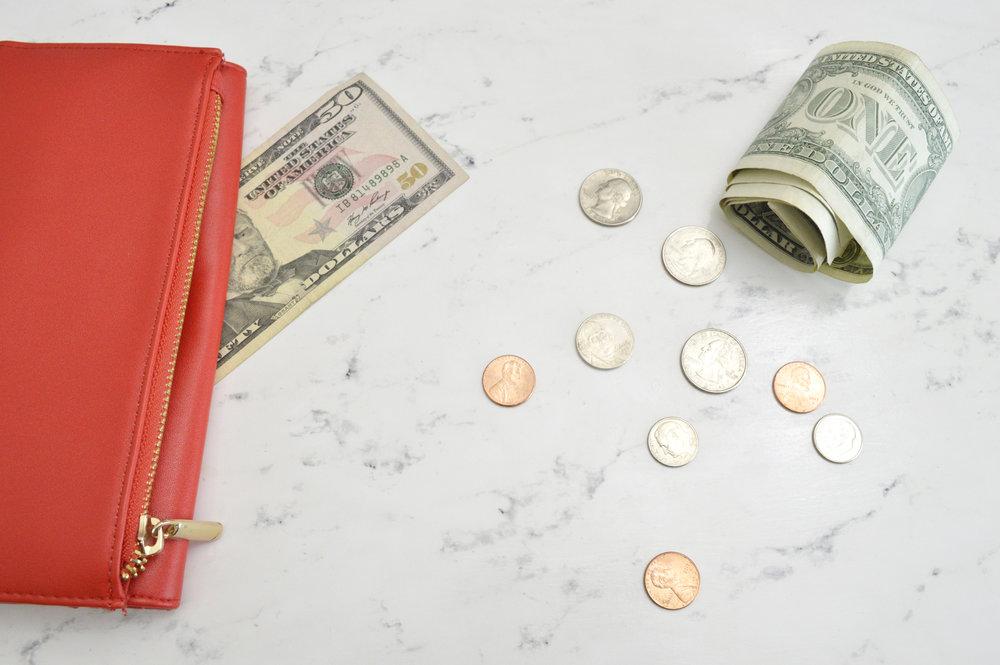 Wallet, coins & cash