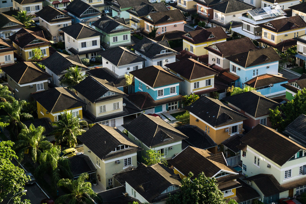 Rows of houses in a development.