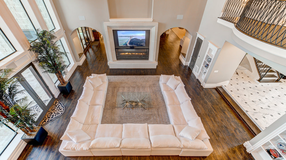 Ariel view of a beautiful living room with high salability.