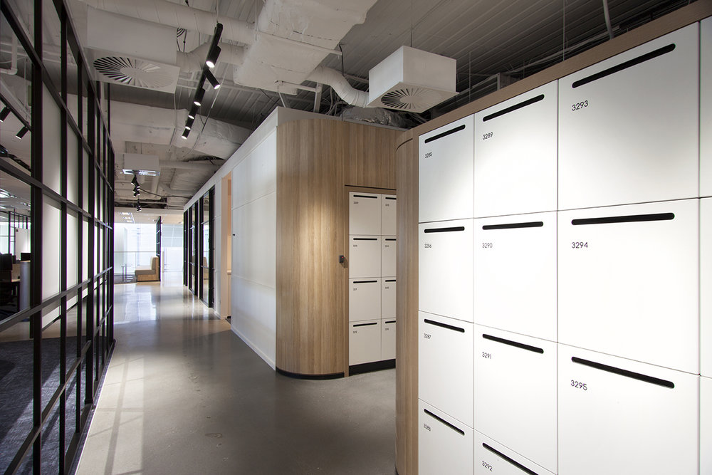 800 Collins Street workplace lockers with rounded edges