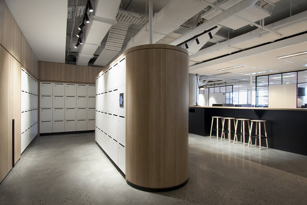 800 Collins Street custom lockers inside the workplace by Lockin