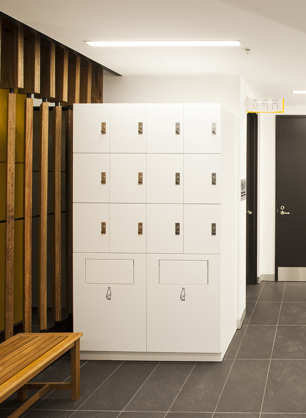 Mini lockers and towel storage at 8 exhibition street