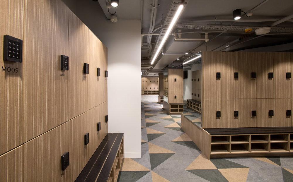 222 exhibition street lockers with shoe shelf seat by Lockin