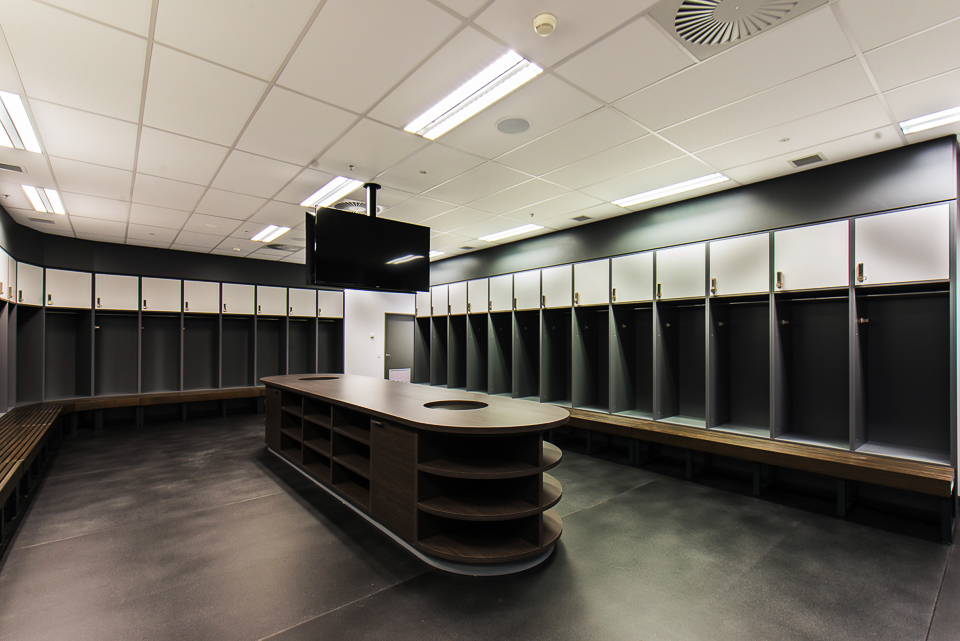 Melbourne Rebels custom change room lockers