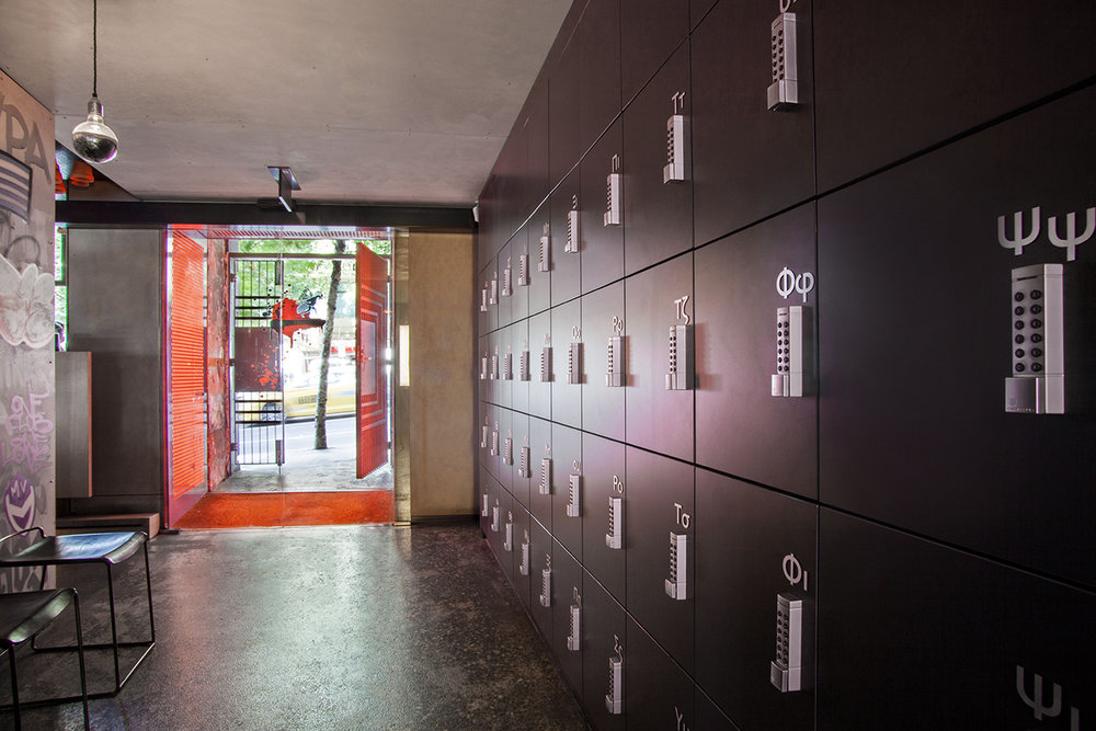 Gazi restaurant lockers in entry way by Lockin