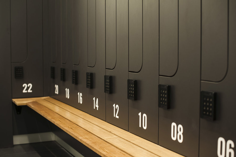 Close up of locker numbering at 8 exhibition street end of trip