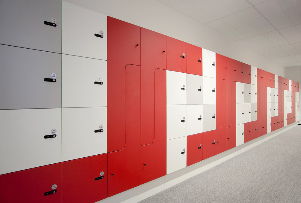 Red, white and grey lockers by Lockin