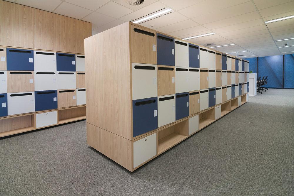 NBN office fitout in Melbourne with Lockin custom lockers