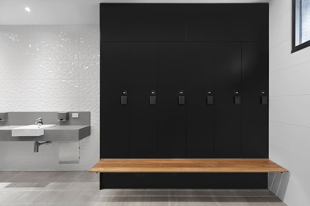 Powercor staff lockers with bench seat in Melbourne