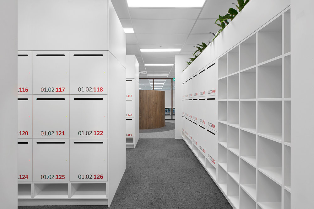 Lockers and pigeon holes with planter box by Lockin