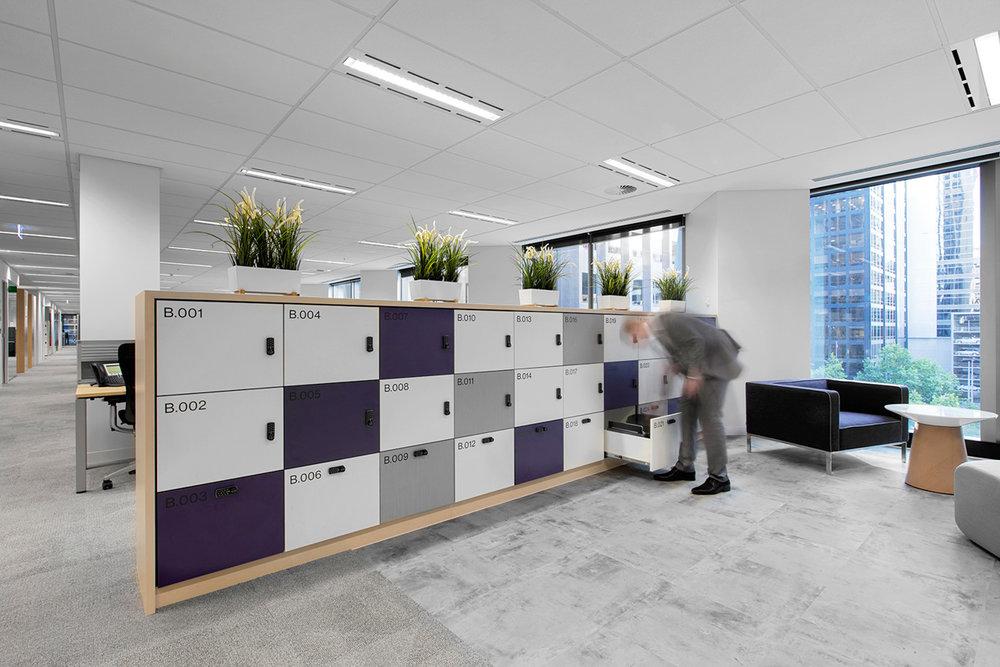3 door custom timber laminate lockers at Willis Towers Watson Melbourne