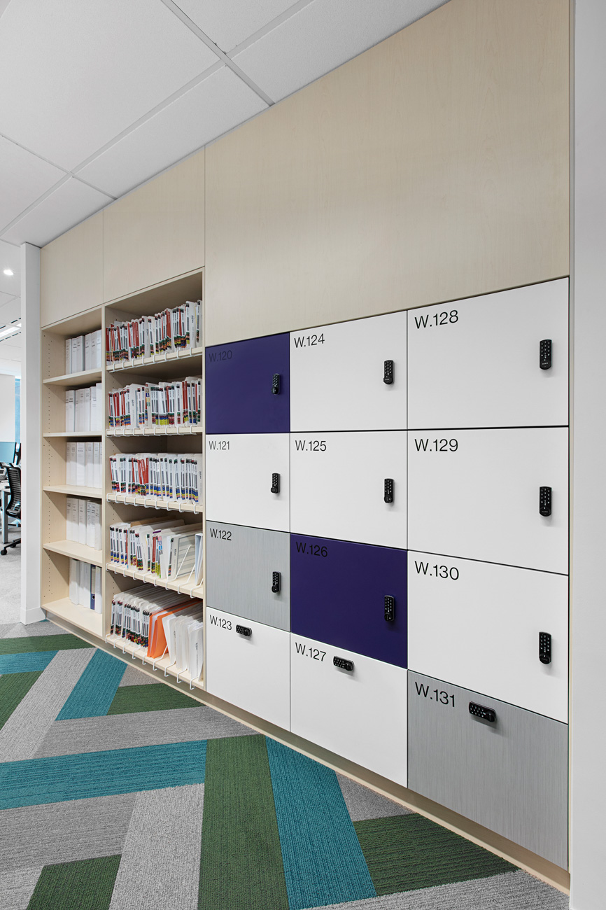 Laminate bookcase with integrated lockers by Lockin Australia