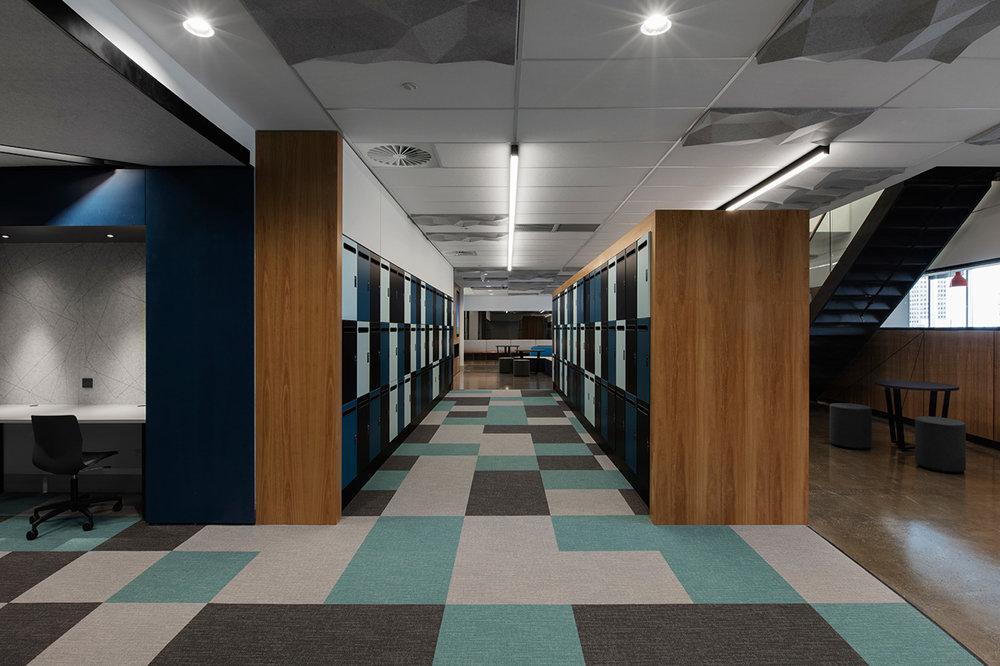 2 rows of smart lockers by Lockin at Leo Cussen