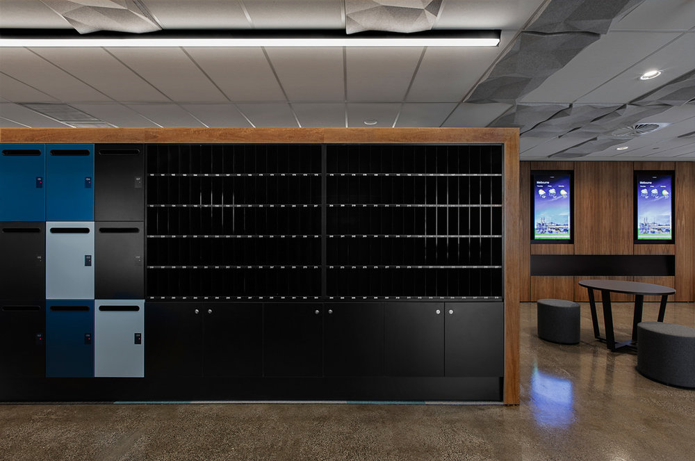 Integrated pigeon holes, cupboard and timber laminate lockers