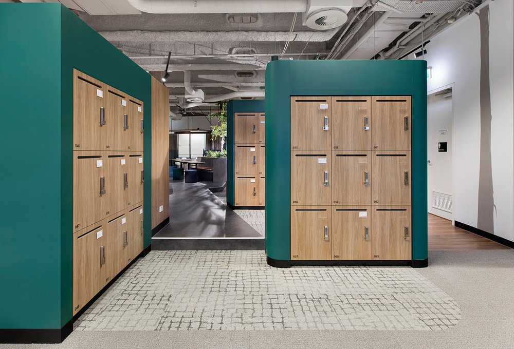 2 rows of smart lockers by Lockin at Leo Cussen